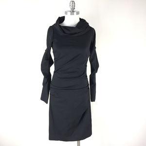 Nicole Miller S 6 Black Long Sleeve dress Ponte